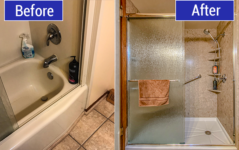 Before and After Tub to Shower Conversion in Saukville, WI