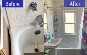 Before and After of Bathtub replacement in Milwaukee, WI by TightSeal Exteriors